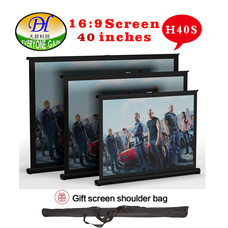 Everyone gain H40S NEW 2017 40inch 16:9 Projector HD Screen Portable Folded Front Proyector Screen Fabric With Eyelets Frame h60x 2016 everyone gain 60 inches 16 9 projector hd screen portable folded pantalla proyector with frame convenient to carry