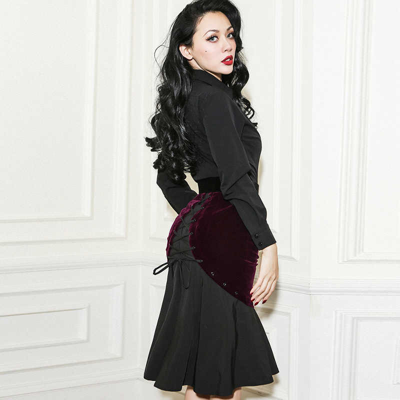 411acdcf57be 20- le palais vintage women black burgundy velvet midi wiggle bandage  mermaid skirt pinup saia