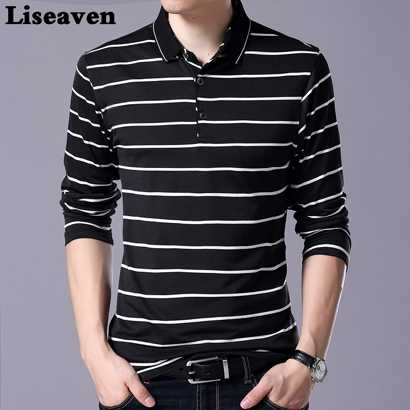 Liseaven Men's Clothing Men   Polo   Shirts Long Sleeve Poloshirt Striped   Polos   Men Tops&Tees Brand Cotton Shirt