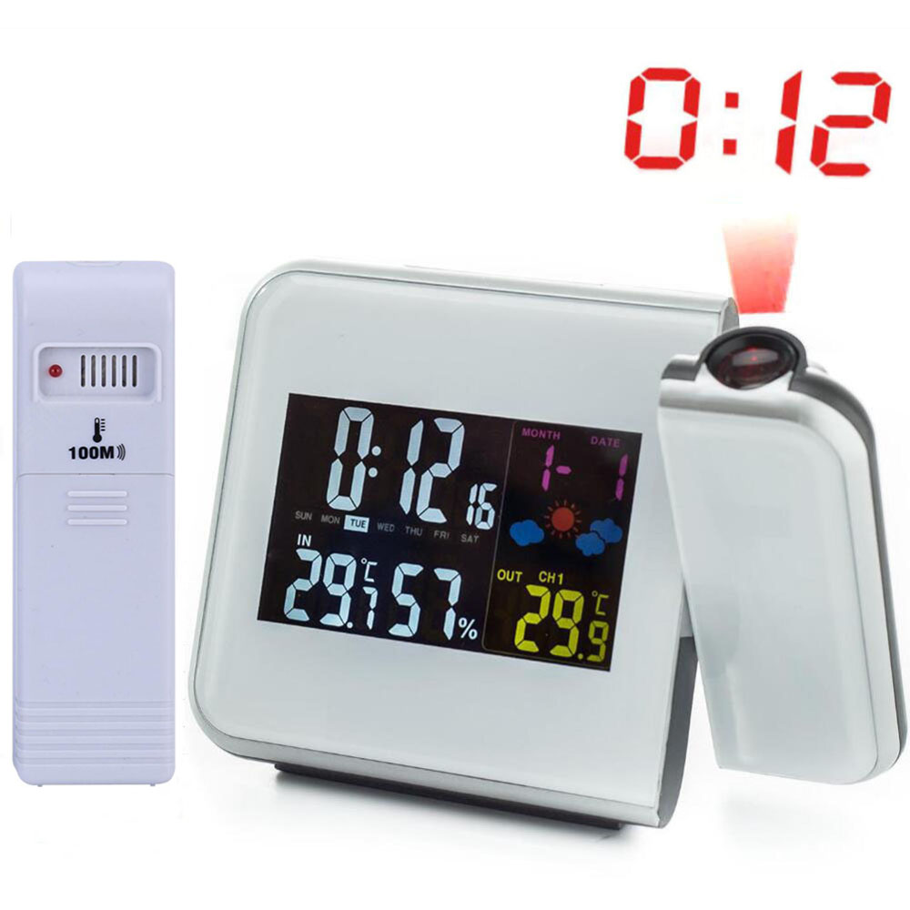 תחנת מזג אויר אלחוטי אלחוטי RCC שעון זמן שעון מבוקרת עם טמפרטורה מדחום חיצוני לחות