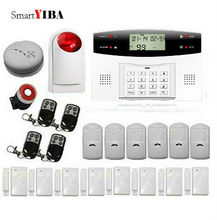 SmartYIBA GSM SMS Alarmes Kits Smoke Detector Alarm Red Flash Siren Infared PIR For Voice Prompt Home Security Alarm System