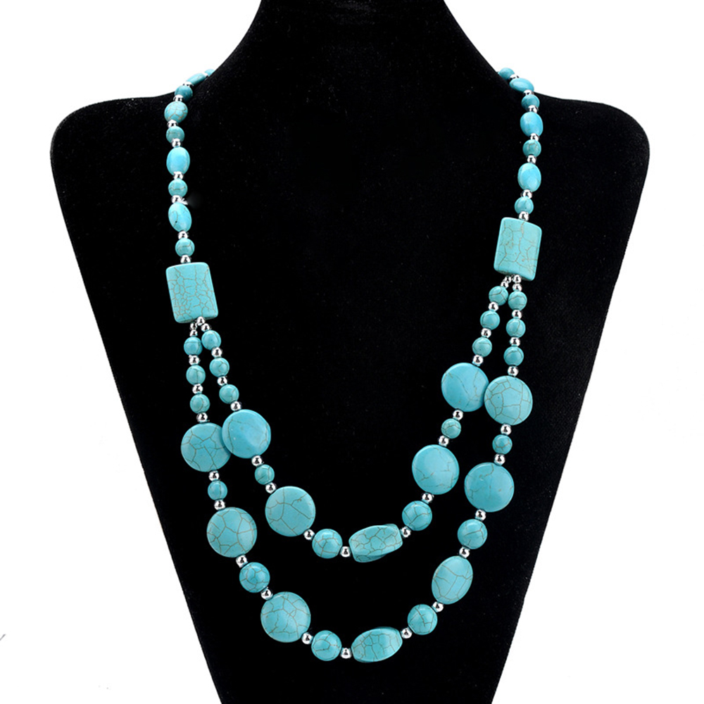 Fashion classic retro double layered prismatic turquoises boho Long women necklace collier femme collar mujer collares XL010