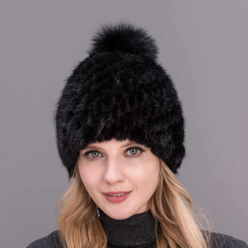 2017 caliente estilo de moda caliente del invierno de las mujeres tejer  gorras real visón sombreros df585464eb7