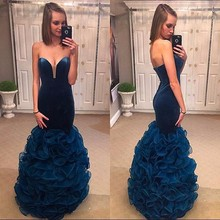 Fashion Sweetheart backless brautkleider meerjungfrau-blau hand maß rüschen lange abendkleider formale kleid vestido de festa