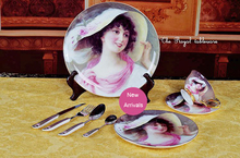 England Royal Ceramic Dinnerware Royal Woman in a Hat oil Painting Dinner Set with Dinner Plates Knife SpoonTableware Set