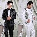 Frete grátis mens ternos com calças terno masculino 2015 novo chegada sequine ternos dos homens Coreano Slim fit mens ternos de casamento noivo