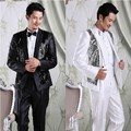 free shipping terno masculino mens suits with pants 2015 new arrival sequine suits men Korean Slim fit mens suits wedding groom