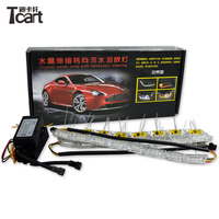 Tcart Universal DRL LED Light with turnlight ABS Daytime Running Lights Auto Car Fog Light Good Fitment Day DRL with turn light