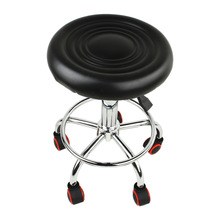 Retro-style Design 5 Rolls Seat Stool Stand Height Stool PU Adjustable Chair Stool Stand Black
