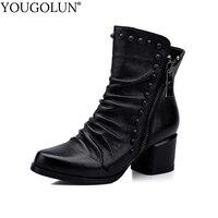YOUGOLUN Women Ankle Boots Winter Autumn Genuine Leather Black Rivets Mid Square Heel 5 5 Cm