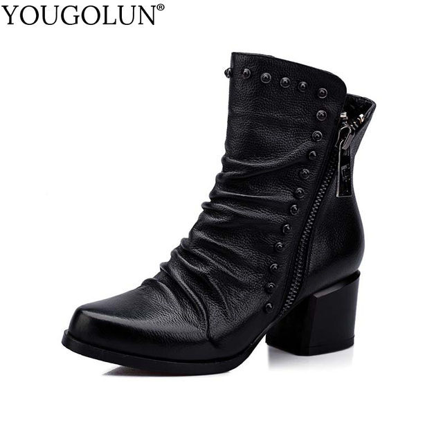YOUGOLUN Women Ankle Boots Winter Autumn Genuine Leather Black Rivets Mid Square Heel 5.5 cm Heels Double Zipper Shoes #Y-181