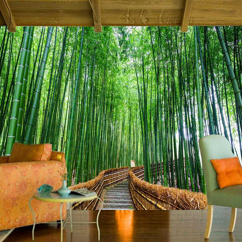 Custom 3d photo wallpaper art wall bamboo forest for Bamboo wallpaper for walls