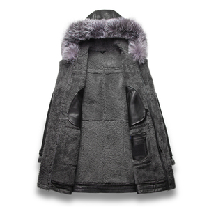 Image 2 - Luxury Real Sheepskin Fur Men Coat Genuine Silver Fox Fur Hood Sheep Shearling Male Long Outwear Black Men Fur Overcoat 4XL