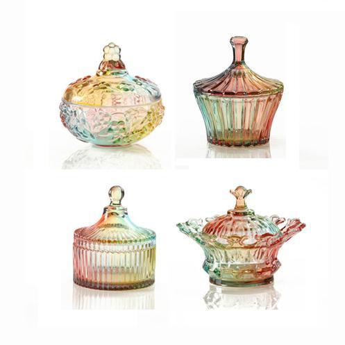 ZAKKA цветное стекло сахар конфеты банку Европейский стиль хранения бутылки стеклянную банку Свадебные органайзера шкатулка пищевых контейн...