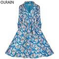 Olrain Осень Женщины Vintage 50 s 60 s Одри Хепберн Стиль С Длинным Рукавом Цветочный Принт Тонкий Плащ