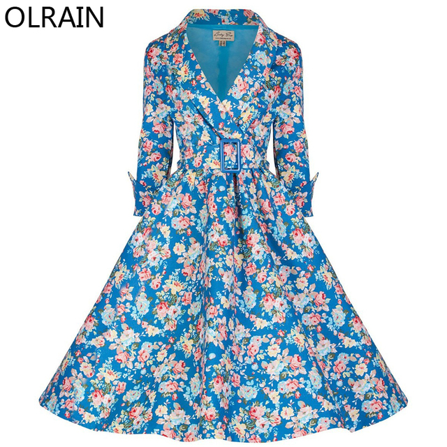 Olrain Autumn Women Vintage 50s 60s Audrey Hepburn Style Long Sleeve Floral Print Slim Trench Coat