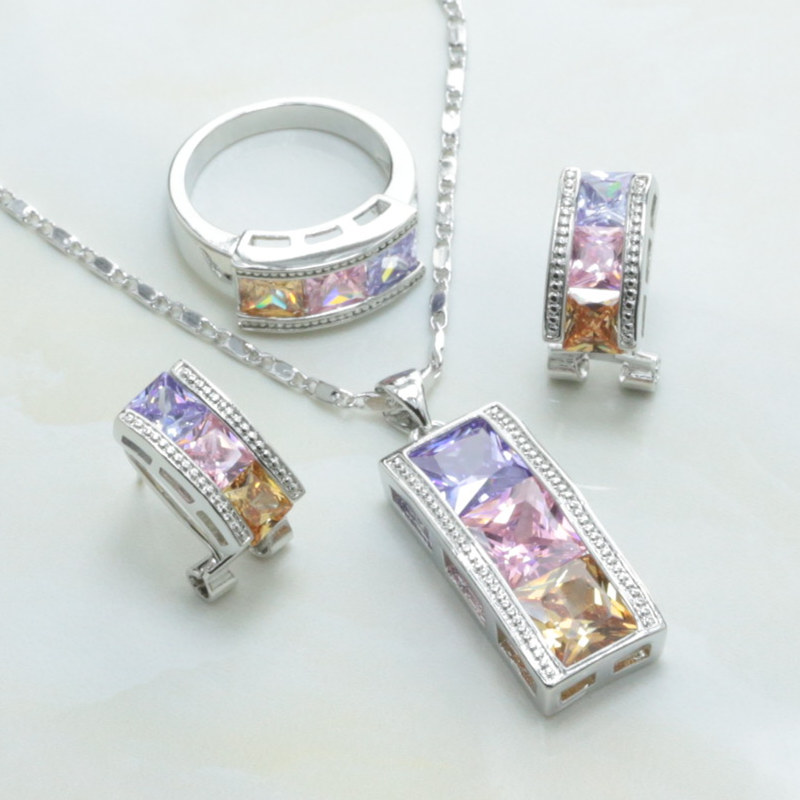 Ear Clip Type Earrings / Necklace / Ring Multicolor Crystal Crystal Column 925 Mark Silver Plated Women Jewelry Set-S198