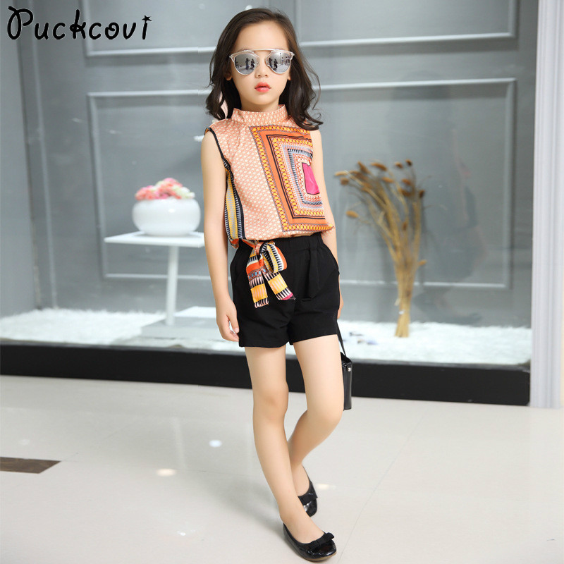 Girls summer sets 2018 Summer clothing set National style Chiffon Kids clothes Children sports suits Vest and Shorts twin-set