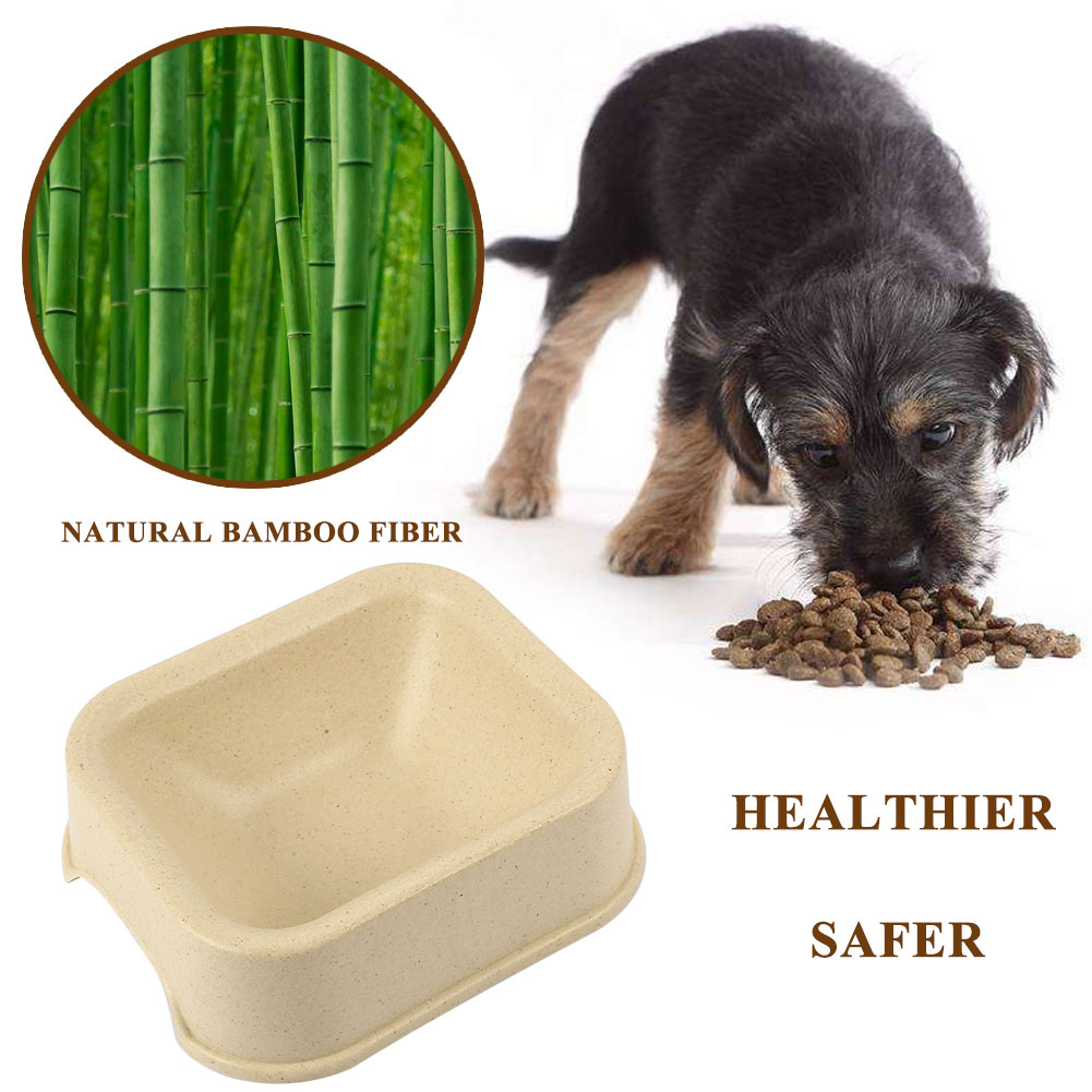 Cat Bowl Pet Bowl Dog Plate Natural Plant Resin Food Tray Sturdy Bamboo Fiber Practical