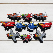 100pcs Planes Cartoon PVC Shoe Buckles Shoe Charms Fit Croc For Shoes&wristbands with Holes Furniture Accessories Kids Best Gift