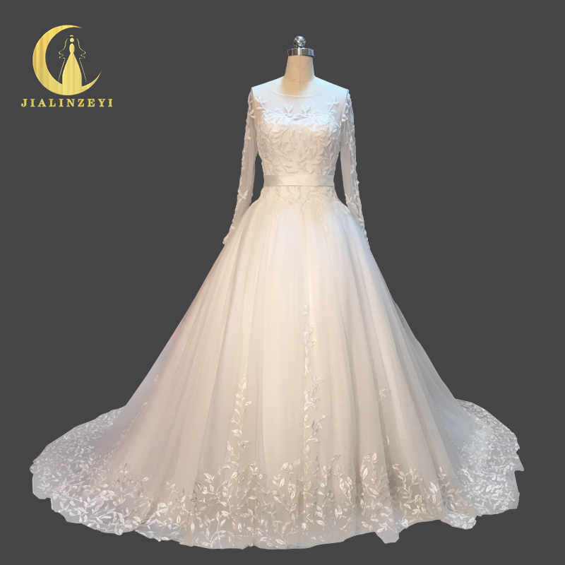 Rhine Real Picture High Quality Long Sleeves Leaf Lace Beads Chapel font b Bridal b font