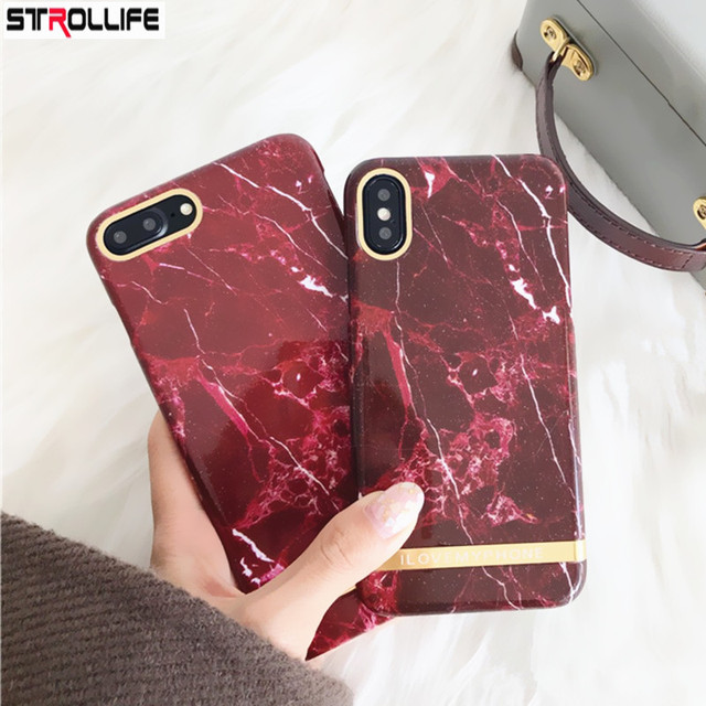 official photos 08635 263fb US $3.46 11% OFF|STROLLIFE Retro Wine Red Marble Phone Cases For iphone X 8  8Plus 7 7Plus 6 6s Slim Art Gold Line stripe Letters Hard shell Cover-in ...
