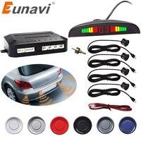 Eunavi Car LED Parking Sensor Kit 4 Sensors Backlight Display Reverse Backup Radar Monitor System 9-16V Free Shipping