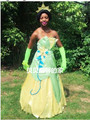 Envío de la alta calidad de la princesa tiana traje adulto rana adultos disfraces de halloween para las mujeres con la enagua de forma gratuita