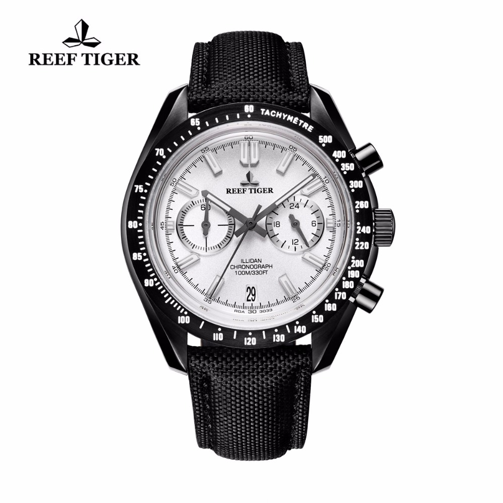 2017 New Reef Tiger/RT Mens Designer Sport Watch with Date Black Steel White Dial Luminous Chronograph Watch RGA3033 цена и фото