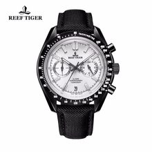 2019 New Reef Tiger/RT Mens Designer Sport Watch with Date Black Steel White Dial Luminous Chronograph Watch RGA3033(China)