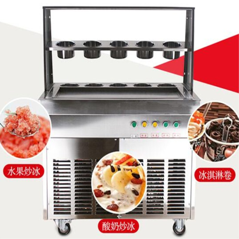 2017 new design fried ice cream roll machine,big pan 10 buckets  Fried ice pan machine,single compressor pan ice pan machine single pan double compressor fried ice cream machine stainless steel fried ice cream roll machine intelligent fried ice machine