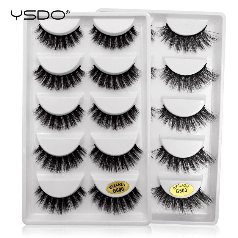 YSDO 5 Pairs Mink Eyelashes Hand Made 100% Eyelashes Faux Cilios Mink Makeup 3d False Lashes Natural Eyelashes 3d Mink Lashes G6