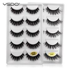 лучшая цена YSDO 5 pairs mink eyelashes hand made 100% eyelashes faux cilios mink makeup 3d false lashes natural eyelashes 3d mink lashes G6