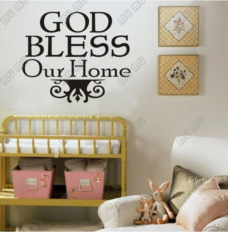Bless Our Home Vinyl Wall Lettering Quotes And Sayings Sticker Quote 17 14 43cm 36cm Black In Stickers From Garden On