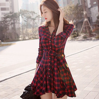 Spring Plaid Dresses 2018 Explosions Leisure Vintage Dress Fall Women Check Print Button Up Casual Shirt