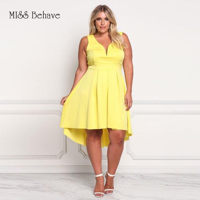 Miss Behave Summer Plus Size Dress 2017 Women V Neck Party Dresses