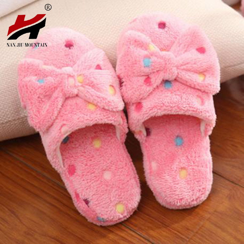 2017 Winter Women Slippers Cartoon bowknot Slippers Indoor Home Shoes Warm Adult Shoes Plush Pantufas with Bowtie Loafers plush winter emoji slippers indoor animal furry house home men slipper with fur anime women cosplay unisex cartoon shoes adult