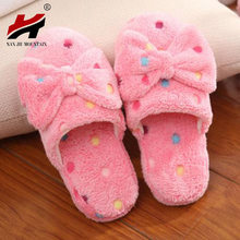 2017 Winter Women Slippers Cartoon bowknot Slippers Indoor Home Shoes Warm Adult Shoes Plush Pantufas with Bowtie Loafers(China)