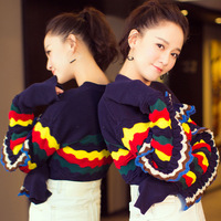 Fashion Hit Color Sweater Women Patchwork Ruffles Edge Round Neck Knitting Jumper Female Casual Loose Red Blue Pullover Sweater