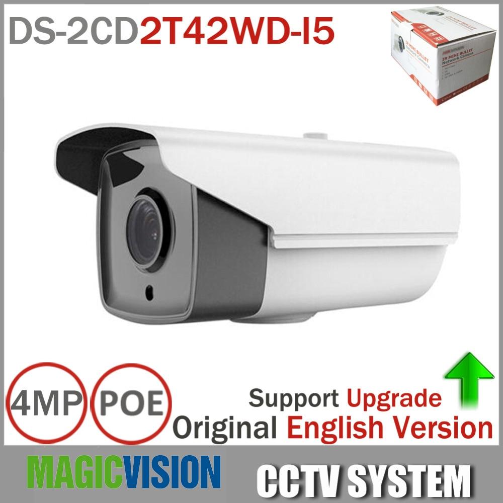 Hikvision English Version 4MP CCTV Camera DS-2CD2T42WD-I5 4MP Outdoor IR Bullet Network IP Camera Support H.264+ WDR hikvision original english version ds 2cd2152f i 5mp ir fixed dome ip camera 30m ir on board storage optional cctv camera