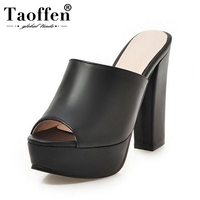TAOFFEN Women PU Leather Simple Hollow Flats Sandals Peep Toe Lace Up Sandals Summer Daily Leisure Shoes Women Size 34 43