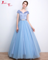 Jark Tozr Custom Made V Nech Short Sleeve Flowers Bridal Gowns Blue Tulle A Line Wedding