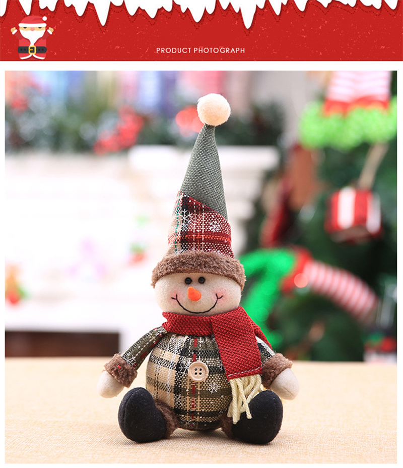 2019 Merry Christmas Tree Ornaments Christmas Decorations for Home New Year gift Children Snowflake Elk Plaid Doll Hanging Natal (12)