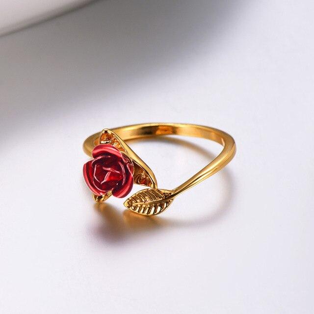 U7 Red Rose Garden Flower Leaves Resizable Finger Rings for Women Valentine's Day Gift 4