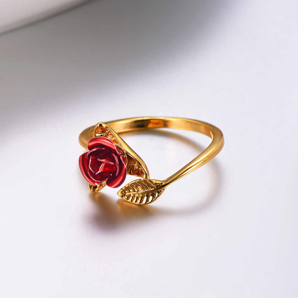 U7 Red Rose Garden цветок листья Изменение размера кольца палец для Для женщин подарок на день Святого Валентина ювелирные изделия Лидер продаж 2019 Открытое кольцо R1019