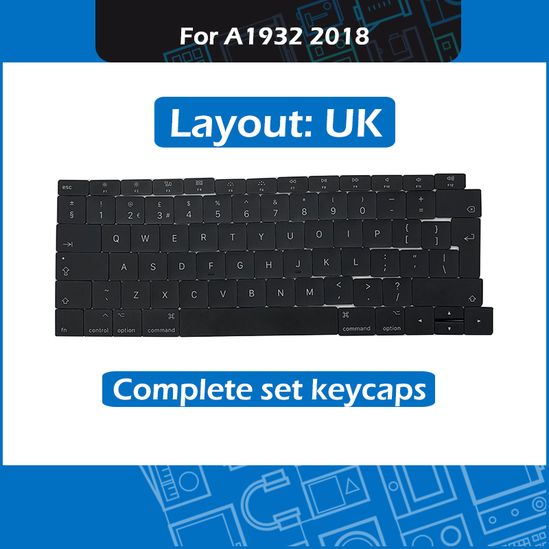 New Laptop <font><b>A1932</b></font> Complete set keycaps UK Layout for Macbook Air Retina 13