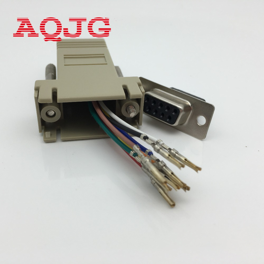DB9 Female to RJ45 Female F/F RS232 Modular Adapter Connector Extender Convertor DB9 Female to RJ45 wholesale AQJG