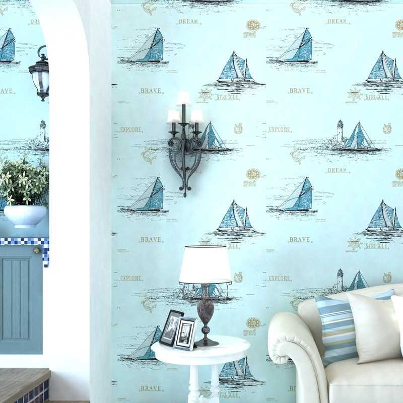 Mediterranean Style Blue Children Room Wallpaper Boy Girl Cartoon Bedroom Non-woven Sailing Sea Wall Paper купить