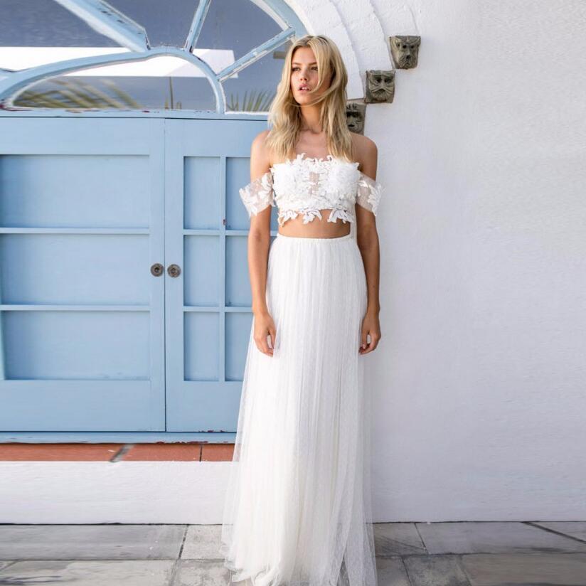 Simple White Long Skirt Elastic Waist A Line Floor Length Maxi Skirt wedding bridesmaid white waist skirt high quality high quality skirt