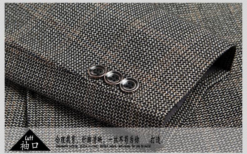 WAEOLSA Mature Men Business Casual Blazers Coffee Gray Texture Suit Coat Man Classical Blazer Hombre Notched Collar Suit Jacket (13)